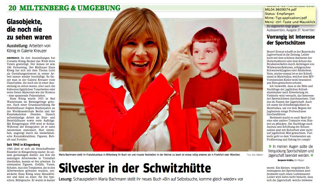 """Artikel zur Lesung """"Bin auf Selbstsuche…"""" am 29.11.2013"""