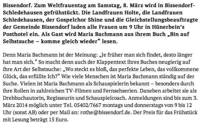 Lesung Frauentag Bissendorf