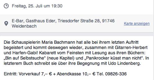 Infos Weidenbach 25.7.2014